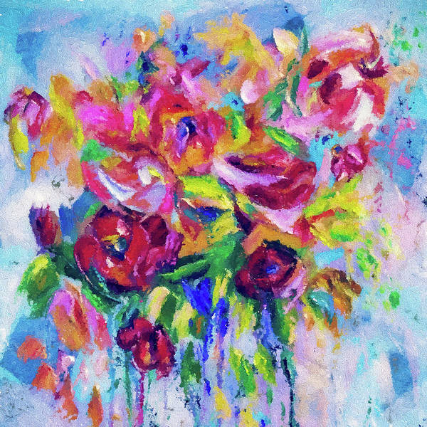Art Print featuring the digital art Abstract Colorful Flowers by OLena Art Brand