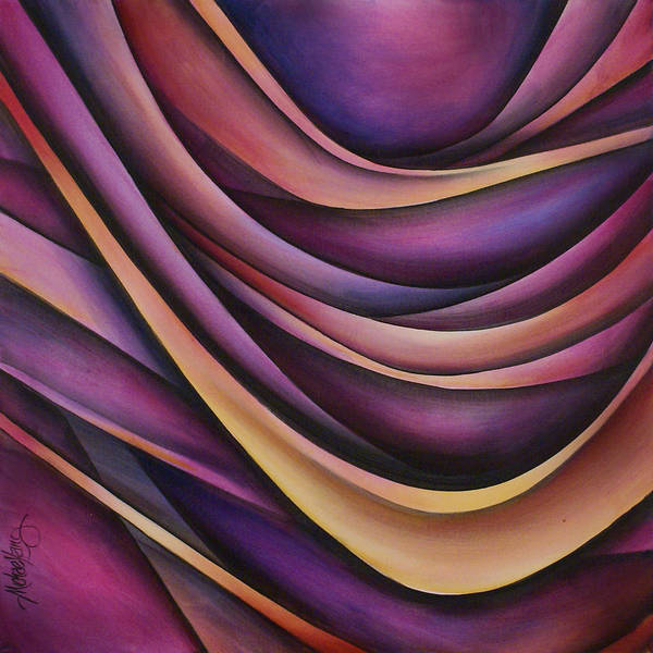 Abstract Painting Violet Lavender Purple Blue Flowing Motion Movement Art Print featuring the painting Abstract Design 35 by Michael Lang