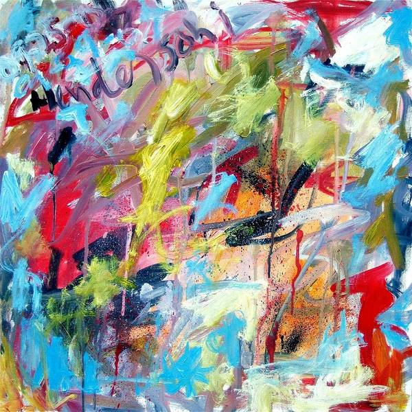 Abstract Art Print featuring the painting Abstract With Drips And Splashes by Michael Henderson