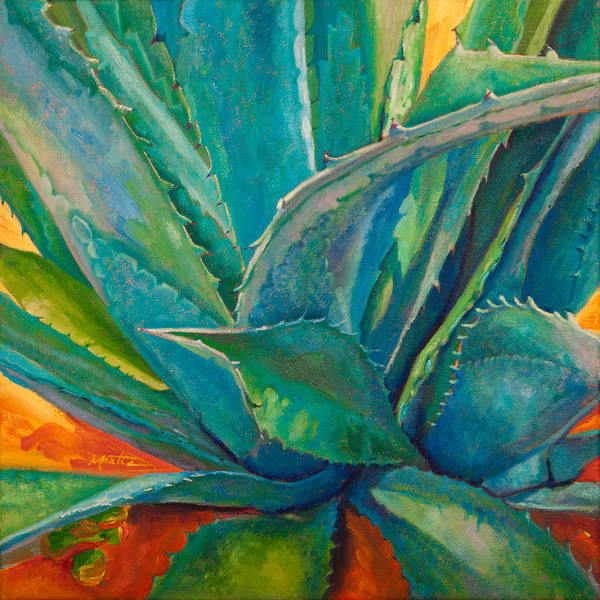 Agave Art Print featuring the painting Against The Grain by Athena Mantle