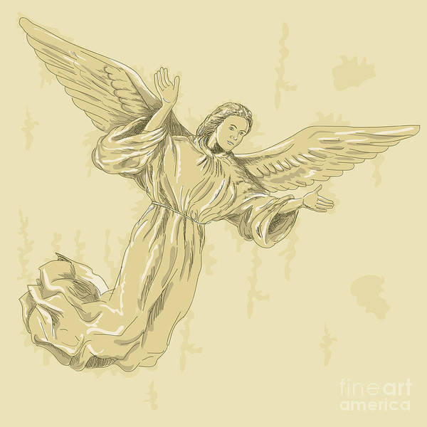 Angel Print featuring the digital art Angel With Arms Spread by Aloysius Patrimonio