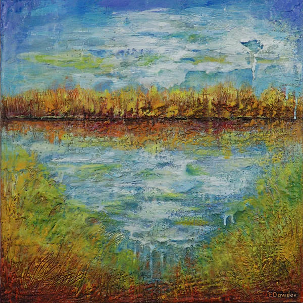 Water Art Print featuring the painting Another Lake. by Evgenia Davidov