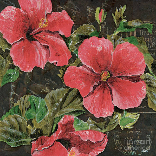 Floral Art Print featuring the painting Antique Hibiscus Black 2 by Debbie DeWitt