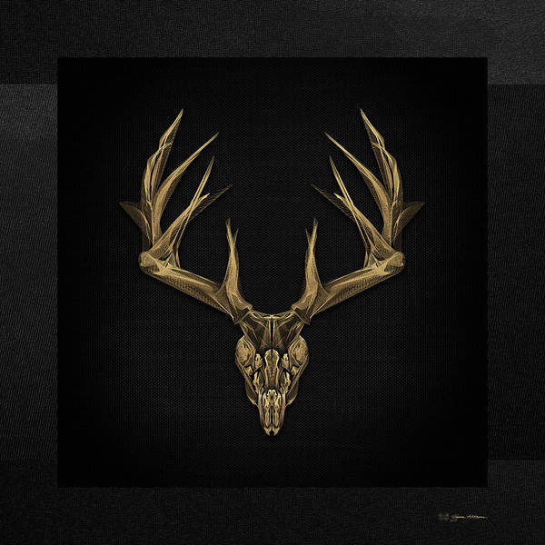 """""""antlered Skulls"""" Collection By Serge Averbukh Art Print featuring the digital art Antlered Skulls - Gold Deer Skull X-ray Over Black Canvas No.1 by Serge Averbukh"""