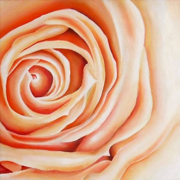 Rose Art Print featuring the painting Apricot Rose by Carrie Bolton