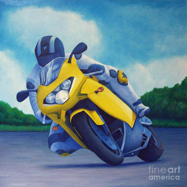 Motorcycle Art Print featuring the painting Aprilla - Tuesday Afternoon by Brian Commerford