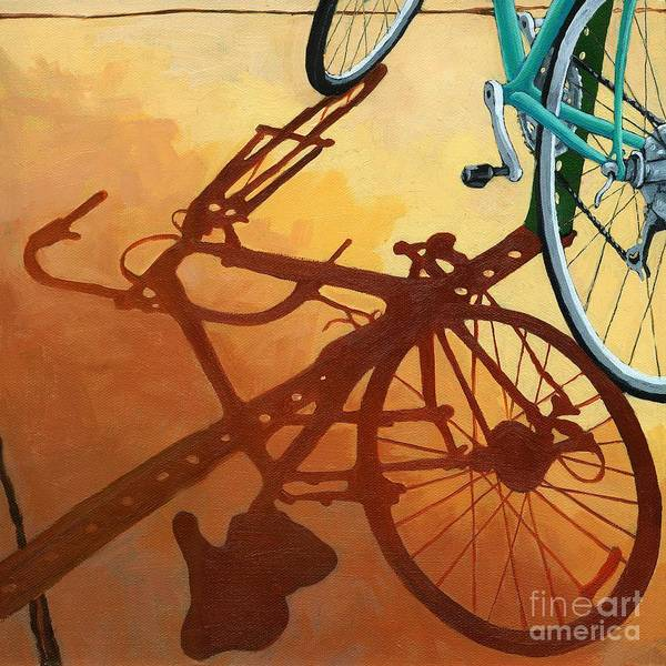 Bicycle Art Art Print featuring the painting Aqua Angle by Linda Apple