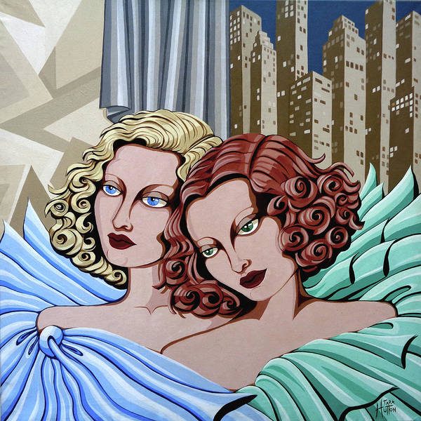 Portrait Art Print featuring the painting Arielle And Gabrielle by Tara Hutton