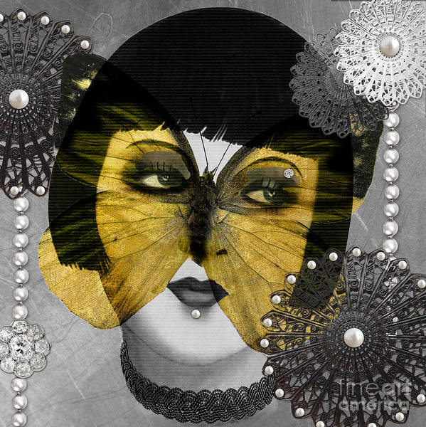 Art Deco Art Print featuring the digital art Art Deco Butterfly Woman by Mindy Sommers