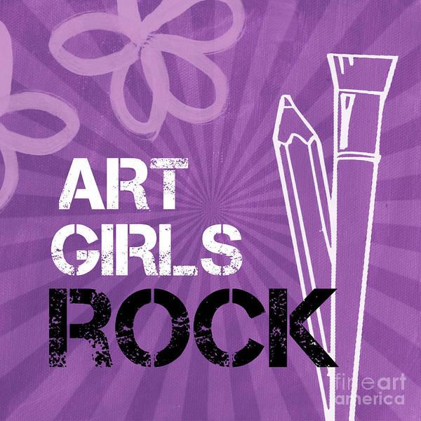 Art Print featuring the mixed media Art Girls Rock by Linda Woods