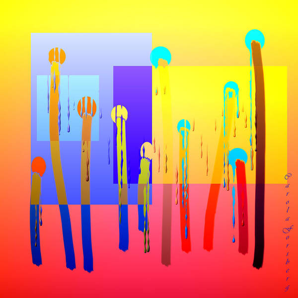 Colourful Art Print featuring the digital art At The Gallery by Carola Ann-Margret Forsberg