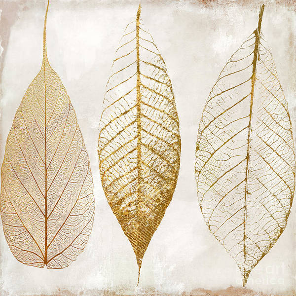 Leaf Art Print featuring the painting Autumn Leaves IIi Fallen Gold by Mindy Sommers