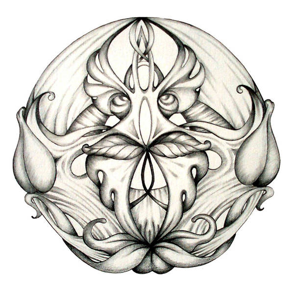 Mandala Art Print featuring the drawing Awakening by Shadia Derbyshire