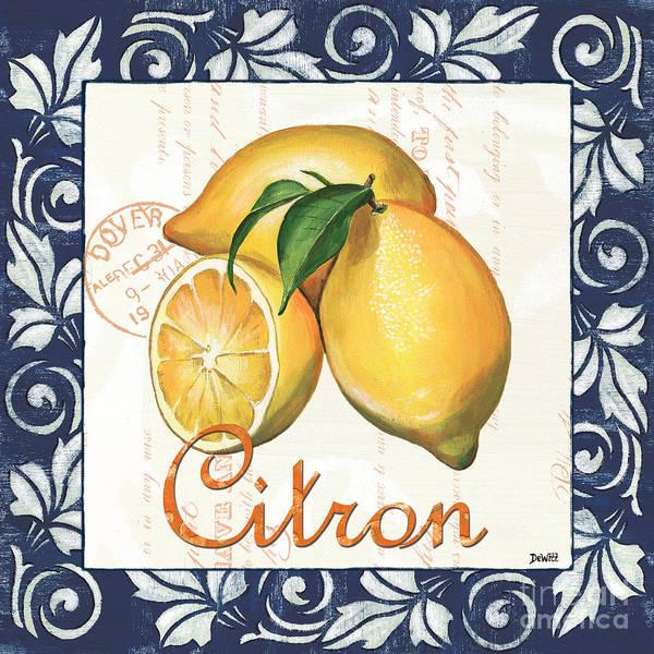 Lemon Art Print featuring the painting Azure Lemon 2 by Debbie DeWitt