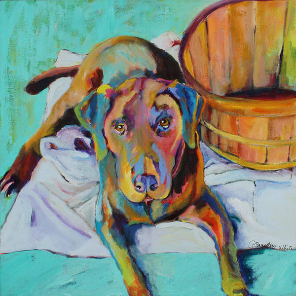 Chocolate Lab Art Print featuring the painting Basket Retriever by Pat Saunders-White