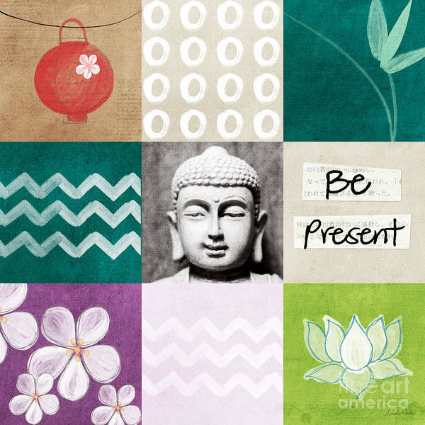 Buddha Art Print featuring the mixed media Be Present by Linda Woods