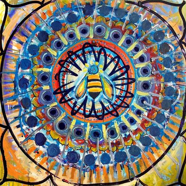 Bee Art Print featuring the painting Bee Peace by Lili Lovemonster