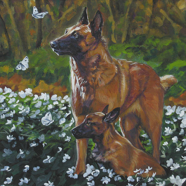 Belgian Malinois Art Print featuring the painting Belgian Malinois With Pup by Lee Ann Shepard