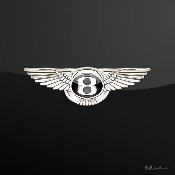 'wheels Of Fortune' By Serge Averbukh Art Print featuring the photograph Bentley - 3 D Badge On Black by Serge Averbukh