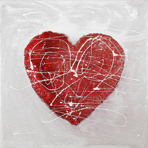 Heart Art Print featuring the painting Big Red Heart by Paul Tokarski