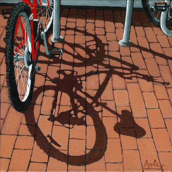 Bicycles Art Print featuring the painting Bike And Bricks by Linda Apple