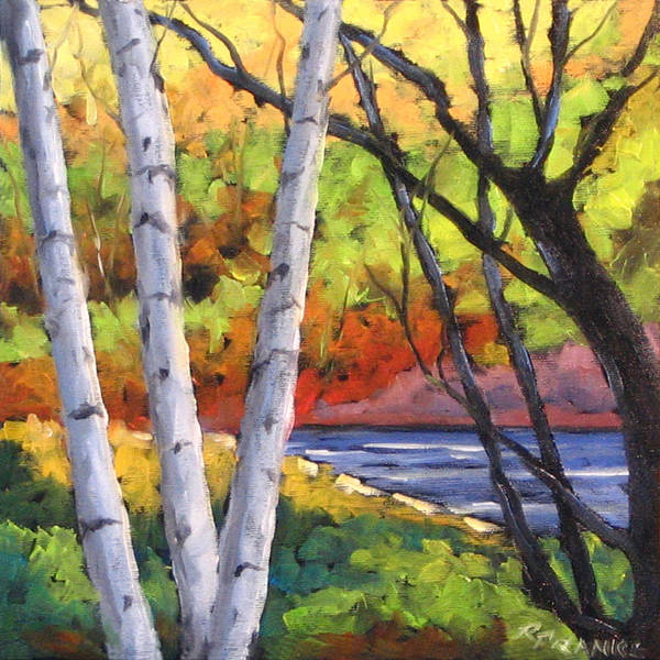 Art Art Print featuring the painting Birches 06 by Richard T Pranke