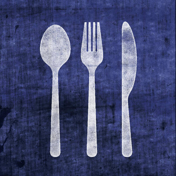Utensils Art Print featuring the mixed media Blue And White Utensils- Art By Linda Woods by Linda Woods