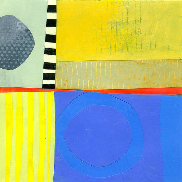 Abstract Art Art Print featuring the painting Blue Doughnut by Jane Davies