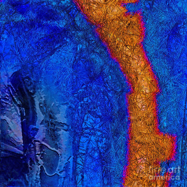 Abstract Art Print featuring the painting Blue Force by Dee Flouton