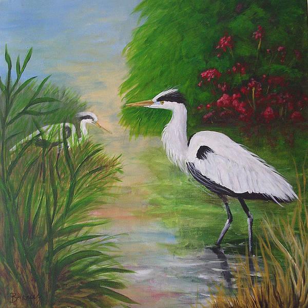 Heron Art Print featuring the painting Blue Herons by Barbara Harper
