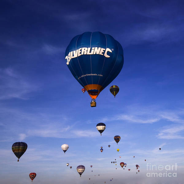 Balloon Fiesta Art Print featuring the photograph Blue Skies by Angel Ciesniarska