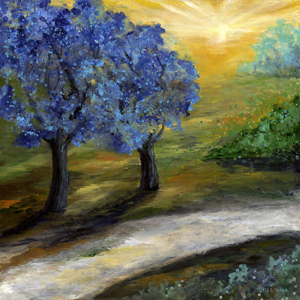 Trees Art Print featuring the painting Blue Trees by Laura Swink