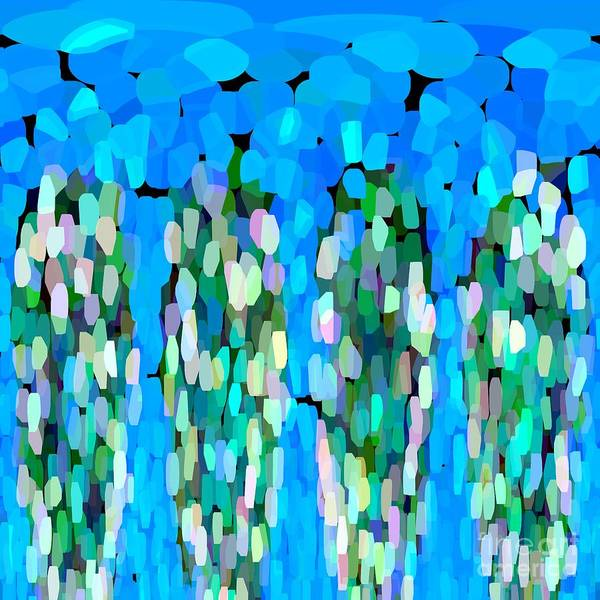 Blue Art Print featuring the painting Blue Waterfalls And Teardrops by Saundra Myles
