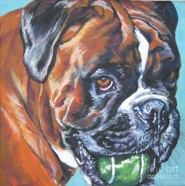 Boxer Art Print featuring the painting Boxer Tennis by Lee Ann Shepard