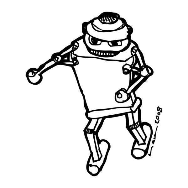 Drawing Art Print featuring the drawing Boxing Robot by Karl Addison