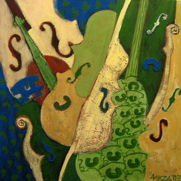 Music Art Print featuring the painting Bridge Over Trebled Waters by Aliza Souleyeva-Alexander