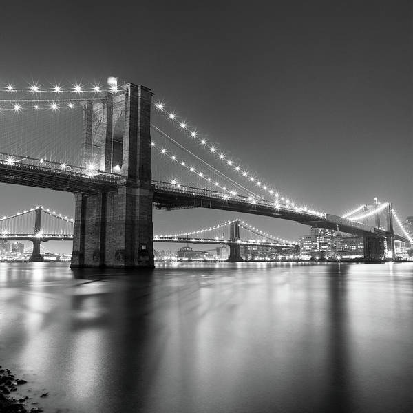 Square Art Print featuring the photograph Brooklyn Bridge At Night by Adam Garelick