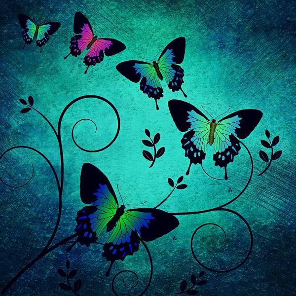 Art Print featuring the digital art Butterflies At Dusk by Mateo Antonio