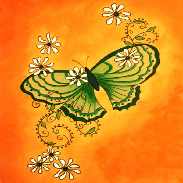 Butterfly Art Print featuring the painting Butterfly Doodle by Karen R Scoville