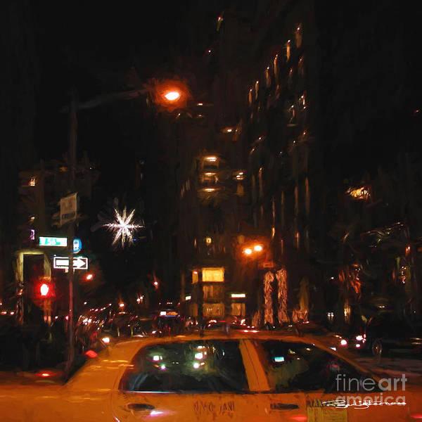 Urban Art Print featuring the digital art Cab New York by Roger Lighterness