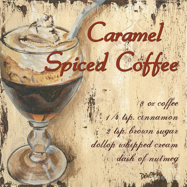 Coffee Art Print featuring the painting Caramel Spiced Coffee by Debbie DeWitt