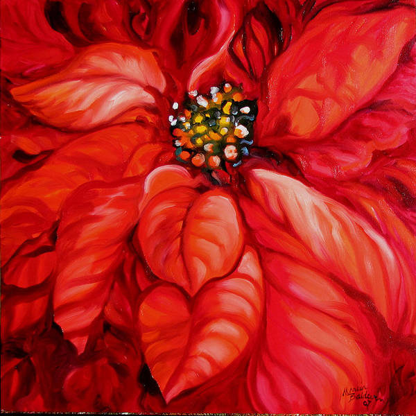 Red Art Print featuring the painting Christmas Poinsettia by Marcia Baldwin