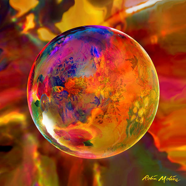Flowers Art Print featuring the digital art Chromatic Floral Sphere by Robin Moline