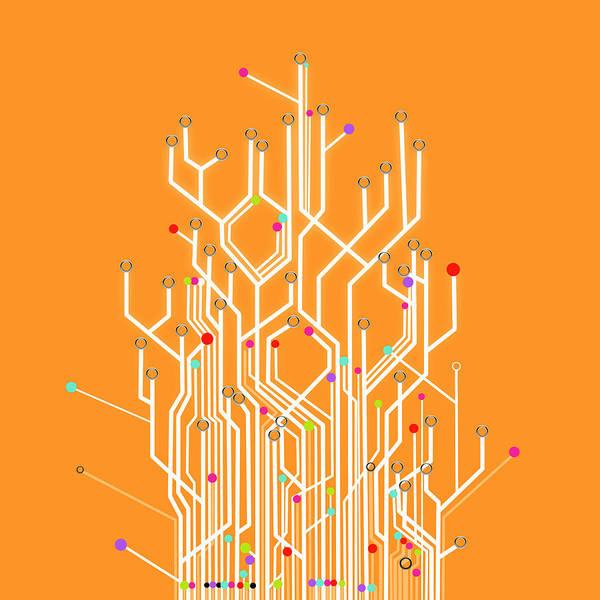 Abstract Print featuring the photograph Circuit Board Graphic by Setsiri Silapasuwanchai