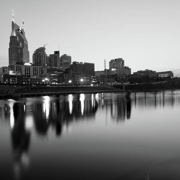America Art Print featuring the photograph City Skyline Of Nashville Tennessee - Square Art Black And White by Gregory Ballos