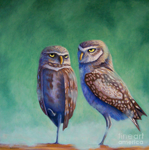 Owls Art Print featuring the painting Close Encounters by Brian Commerford