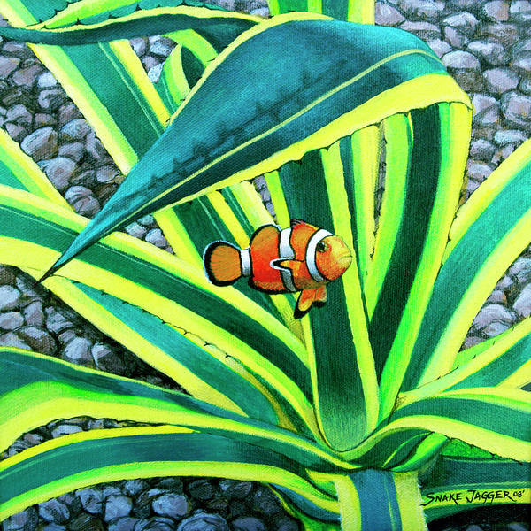 Fish Art Print featuring the painting Clownfish by Snake Jagger