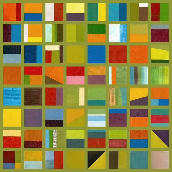Abstract Print featuring the painting Color Study Collage 64 by Michelle Calkins
