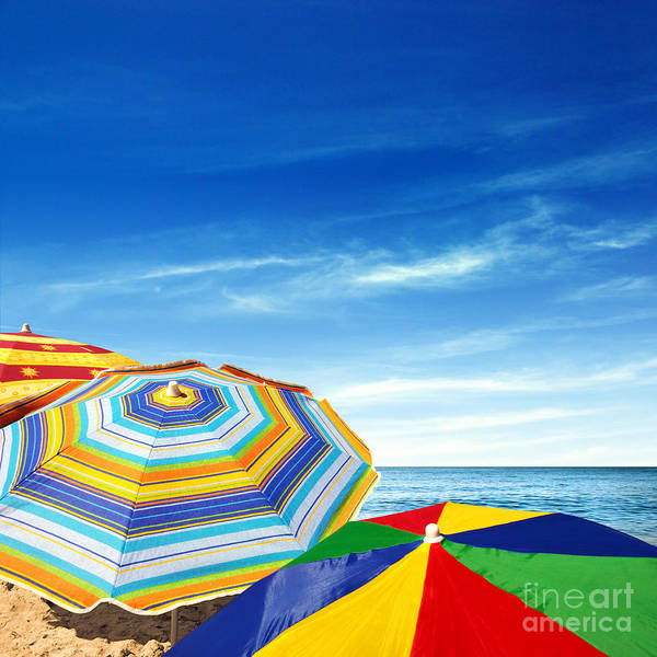 Abstract Print featuring the photograph Colorful Sunshades by Carlos Caetano