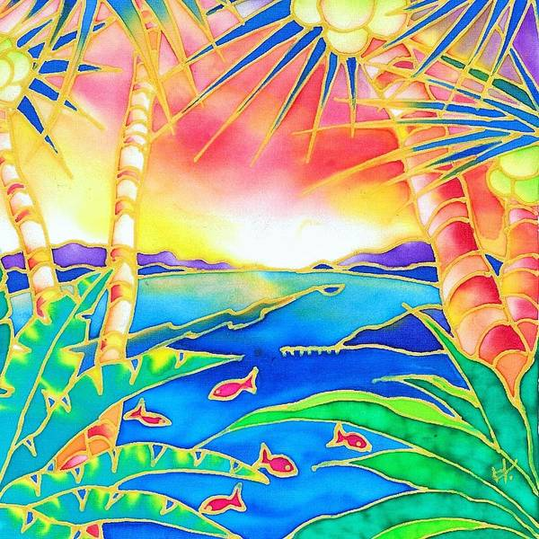 Tropics Art Print featuring the painting Colorful Tropics 12 by Hisayo Ohta